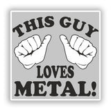 2 x This Guy Loves Metal Vinyl Stickers Travel Luggage #10194