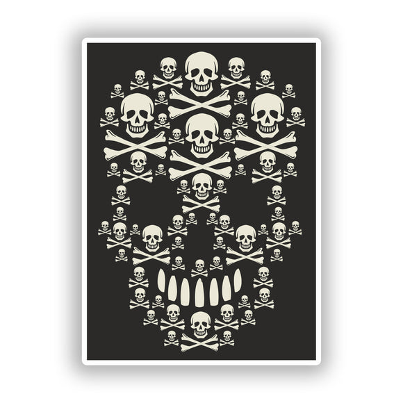 2 x Cool Skulls Vinyl Stickers Travel Luggage #10200