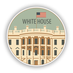 2 x White House Vinyl Stickers Travel Luggage #10201