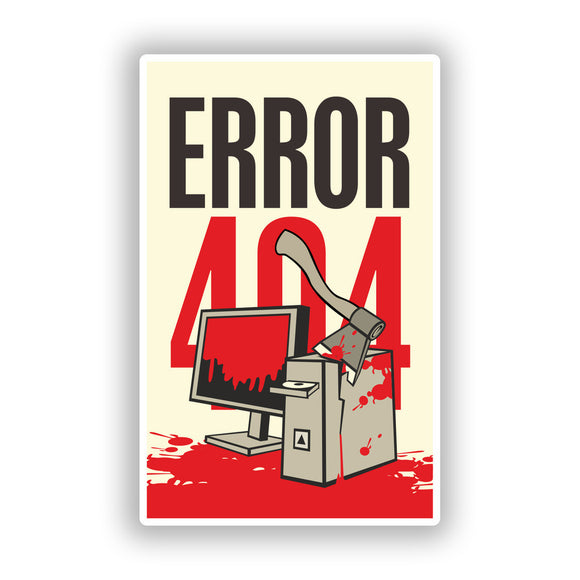 2 x Error 404 Vinyl Stickers Travel Luggage Funny PC #10206