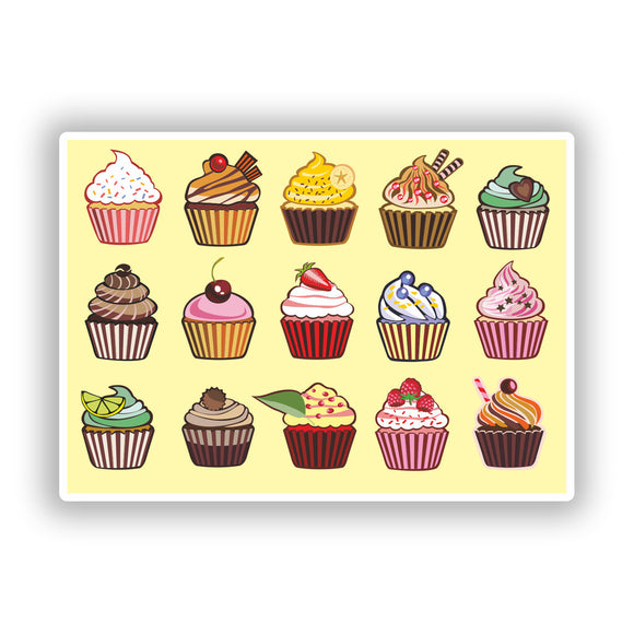 2 x Cup cakes Vinyl Stickers Travel Luggage #10247