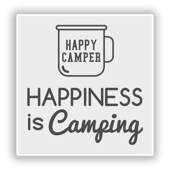 2 x Happiness is Camping Vinyl Stickers Travel Luggage #10249