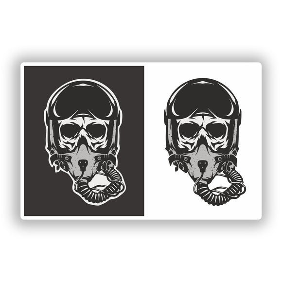 2 x Pilot Skulls Vinyl Stickers Travel Luggage #10257