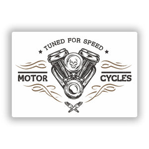 2 x Tuned For Speed Motor Cycles Vinyl Stickers Travel Luggage #10293