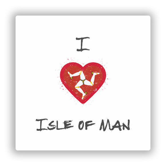2 x I Love Isle Of Man Vinyl Stickers Travel Luggage #10296