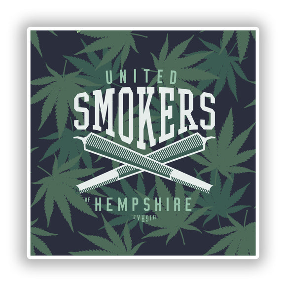 2 x United Smokers Hempshire Vinyl Stickers Travel Luggage #10299