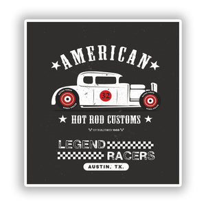 2 x American Hot Rod Vinyl Stickers Travel Luggage #10300