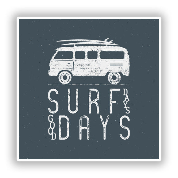 2 x Surfing Camper Van Vinyl Stickers Travel Luggage #10304