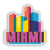2 x Miami Skyline Vinyl Stickers Travel Luggage #10310