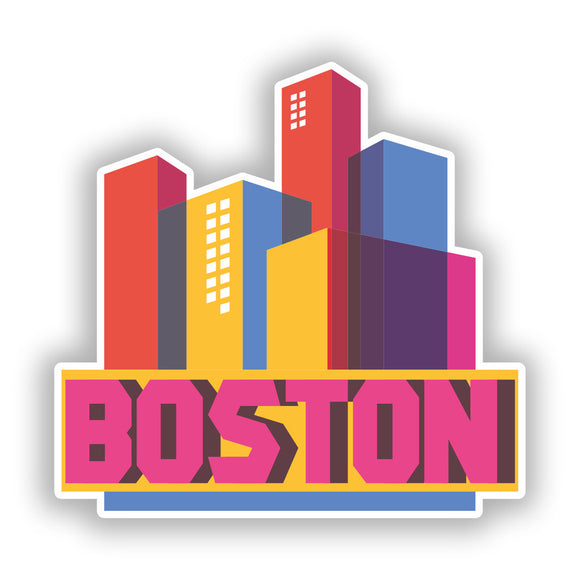 2 x Boston Skyline Vinyl Stickers Travel Luggage #10314