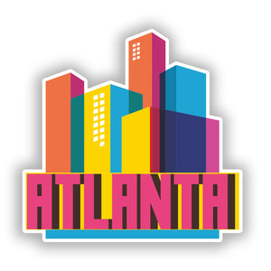 2 x Atlanta Skyline Vinyl Stickers Travel Luggage #10316