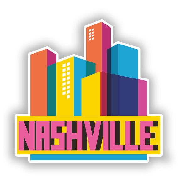 2 x Nashville Skyline Vinyl Stickers Travel Luggage #10318