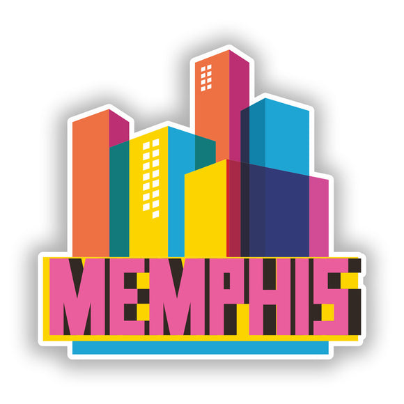 2 x Memphis Skyline Vinyl Stickers Travel Luggage #10324