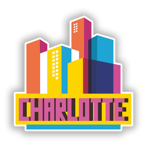 2 x Charlotte Skyline Vinyl Stickers Travel Luggage #10326