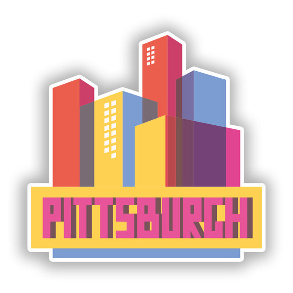 2 x Pittsburgh Skyline Vinyl Stickers Travel Luggage #10331