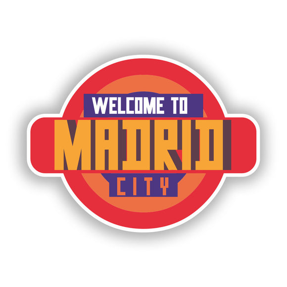 2 x Welcome to Madrid Vinyl Stickers Travel Luggage #10336