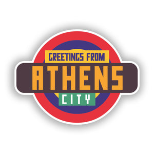 2 x Greetings from Athens Vinyl Stickers Travel Luggage #10346