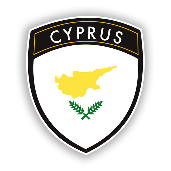 2 x Cyprus Badge Vinyl Stickers Travel Luggage #10421
