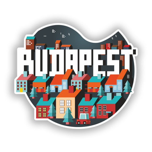 2 x Budapest Skyline Vinyl Stickers Travel Luggage #10424
