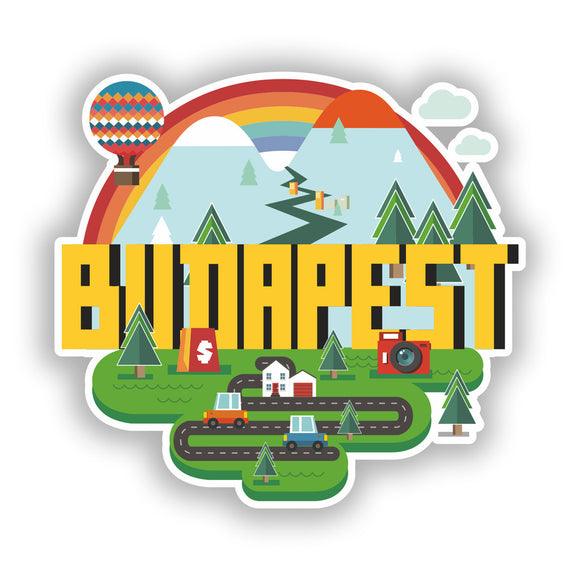 2 x Budapest Vinyl Stickers Travel Luggage #10426