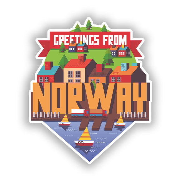 2 x Norway Skyline Vinyl Stickers Travel Luggage #10429