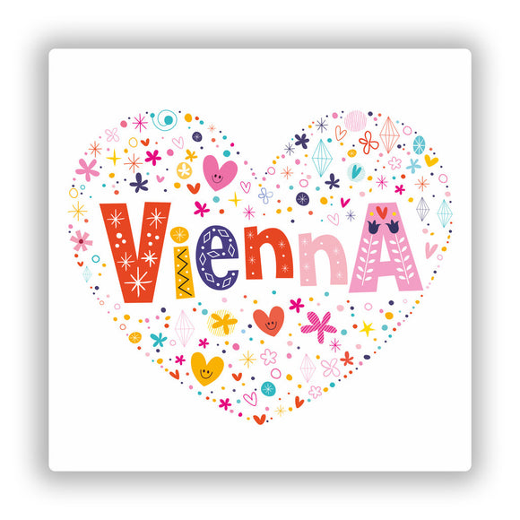 2 x Love Vienna Vinyl Stickers Travel Luggage #10459