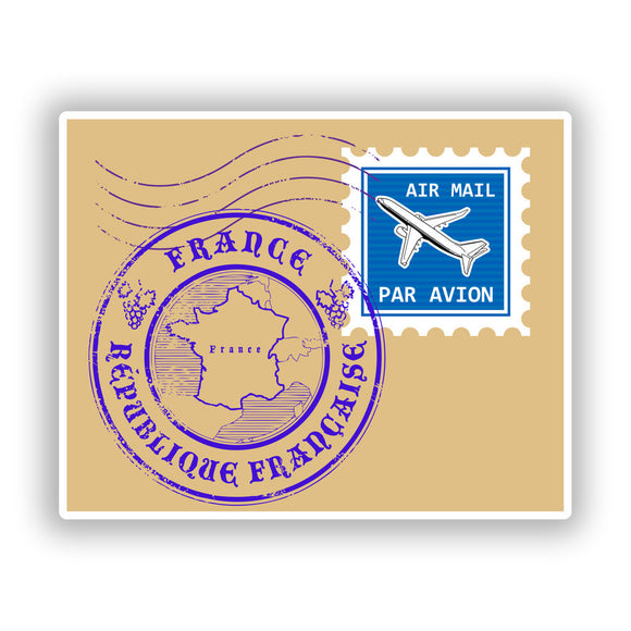 2 x France Stamp Vinyl Stickers Travel Luggage #10498