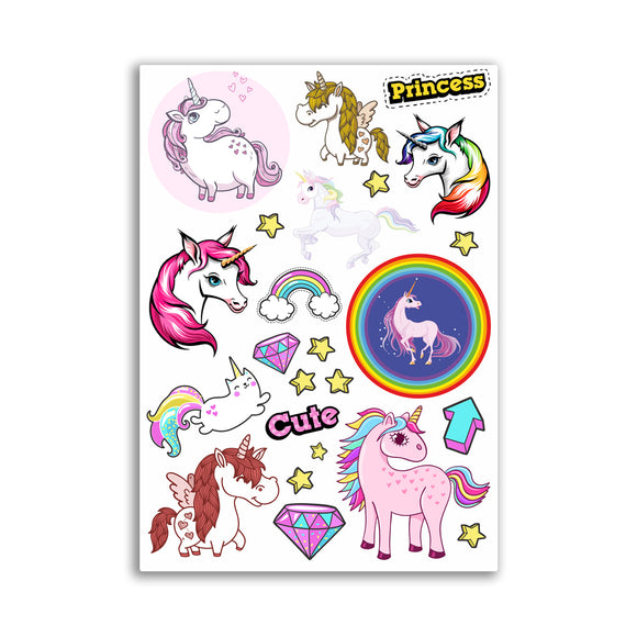 A4 Sheet - Unicorn Vinyl Stickers - Cute Princess Girl Girly Fun #10867