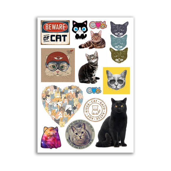 A4 Sheet - Cats Vinyl Stickers - Cat Cute Kittens #10868