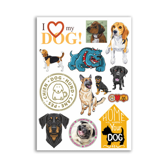 A4 Sheet - Dog Vinyl Stickers - Dogs Cute Puppies Fun #10869