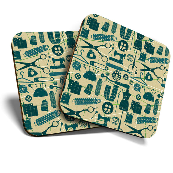 Great Coasters (Set of 2) Square / Glossy Quality Coasters / Tabletop Protection for Any Table Type - Cute Sewing Dressmaker Tools  #12402