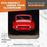 Great Coasters (Set of 2) Square / Glossy Quality Coasters / Tabletop Protection for Any Table Type - Red Vintage Car Racing  #12564
