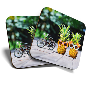 Great Coasters (Set of 2) Square / Glossy Quality Coasters / Tabletop Protection for Any Table Type - Cycling Bike Couple Pineapple  #12702
