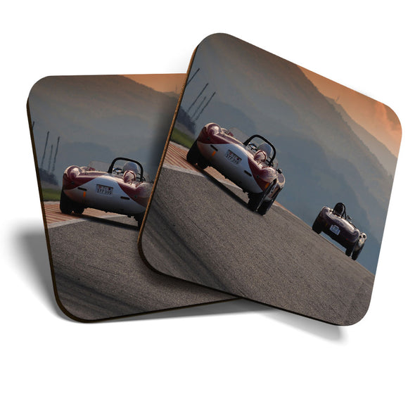 Great Coasters (Set of 2) Square / Glossy Quality Coasters / Tabletop Protection for Any Table Type - Vintage Maserati & Ferrari Mugello  #12763