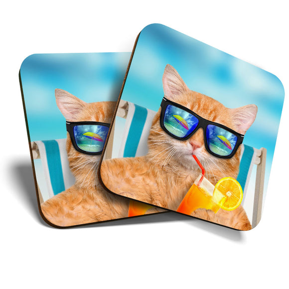 Great Coasters (Set of 2) Square / Glossy Quality Coasters / Tabletop Protection for Any Table Type - Funny Ginger Cat Sunbathing  #14582