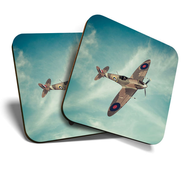 Great Coasters (Set of 2) Square / Glossy Quality Coasters / Tabletop Protection for Any Table Type - British RAF Spitfire Vintage Plane  #16310