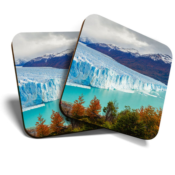 Great Coasters (Set of 2) Square / Glossy Quality Coasters / Tabletop Protection for Any Table Type - Perito Moreno Glacier Argtentina  #16392
