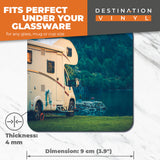 Great Coasters (Set of 2) Square / Glossy Quality Coasters / Tabletop Protection for Any Table Type - Camper Van Motorhome Camping  #16466