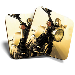 Great Coasters (Set of 2) Square / Glossy Quality Coasters / Tabletop Protection for Any Table Type - Vintage Motorcycle Vehicle Bike Biker  #16594