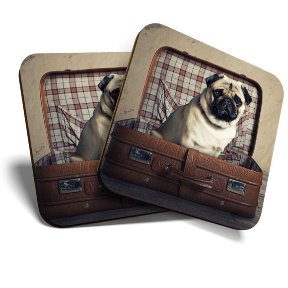 Great Coasters (Set of 2) Square / Glossy Quality Coasters / Tabletop Protection for Any Table Type - Cute Traveling Pug Dog Puppy  #16695