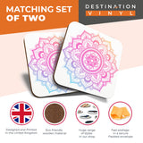 Great Coasters (Set of 2) Square / Glossy Quality Coasters / Tabletop Protection for Any Table Type - Indian Mandala Boho Yoga   #19355