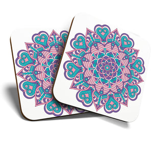 Great Coasters (Set of 2) Square / Glossy Quality Coasters / Tabletop Protection for Any Table Type - Indian Mandala Boho Yoga   #19363