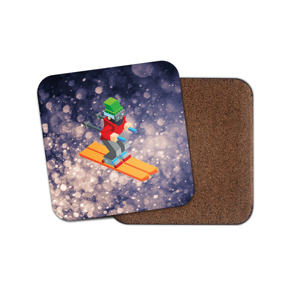 Skiing Ski Skier Drinks Coaster Mat Square Cork Backed Tea Coffee #2002