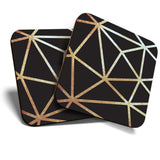 Great Coasters (Set of 2) Square / Glossy Quality Coasters / Tabletop Protection for Any Table Type - Black & Gold Abstract Art Deco  #21228