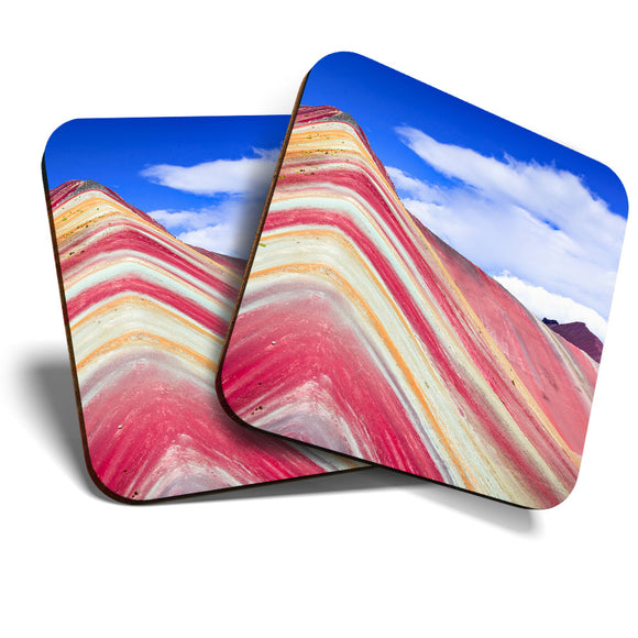 Great Coasters (Set of 2) Square / Glossy Quality Coasters / Tabletop Protection for Any Table Type - Rainbow Mountain Peru Travel  #2254