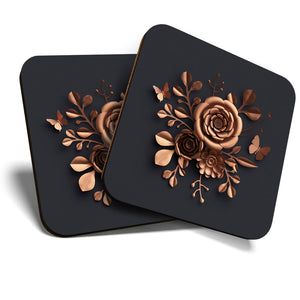 Great Coasters (Set of 2) Square / Glossy Quality Coasters / Tabletop Protection for Any Table Type - Rose Gold Flower Art Elegant Flowers  #24122