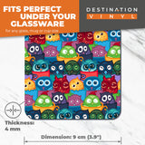 Great Coasters (Set of 2) Square / Glossy Quality Coasters / Tabletop Protection for Any Table Type - Cute Owls in Coffee Mugs Owl  #2833