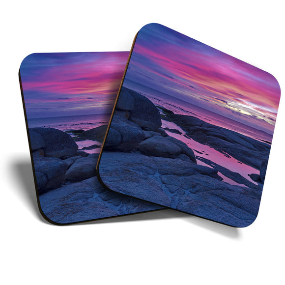 Great Coasters (Set of 2) Square / Glossy Quality Coasters / Tabletop Protection for Any Table Type - Bay of Fires Tasmania Sunset  #3085