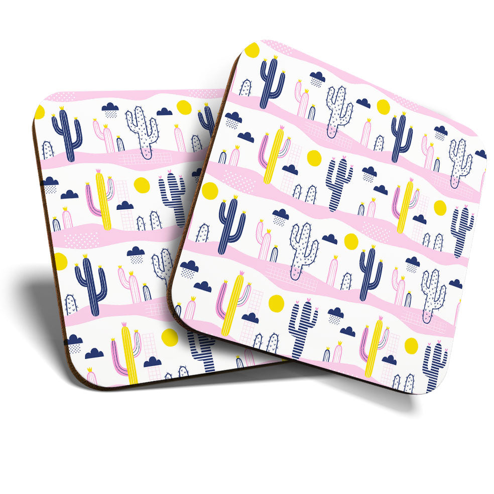 Great Coasters (Set of 2) Square / Glossy Quality Coasters / Tabletop Protection for Any Table Type - Pretty Cactus Desert Pink  #3871