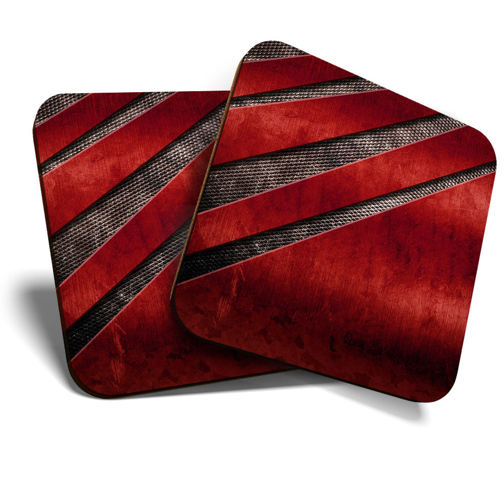 Great Coasters (Set of 2) Square / Glossy Quality Coasters / Tabletop Protection for Any Table Type - Funky Red Imitation Metal  #3902